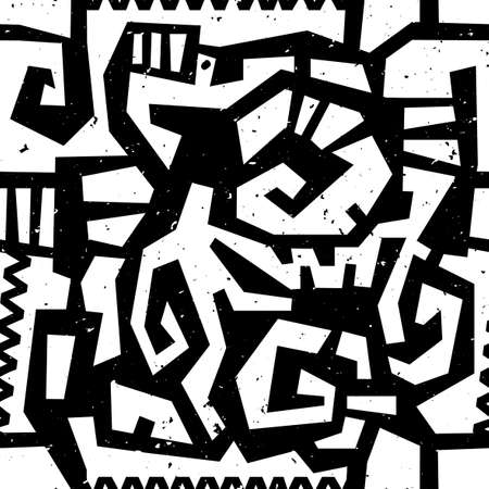 Hand drawn painted ethnic seamless pattern with grunge effect. African tribal traditional pattern. Use for wallpaper, pattern fills, web page background, fabric. Zigzag and stripe line.