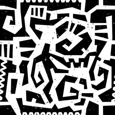 Hand Drawn peint seamless ethnique avec effet grunge. Modèle traditionnel tribal africain. Utilisez pour le papier peint, motifs de remplissage, fond de page web, tissu. Ligne en zigzag et rayure. Banque d'images - 41221037