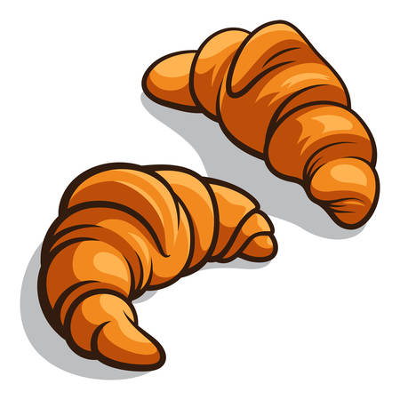 croissants: Delicious baked croissants isolated on white. Vector illustration Illustration