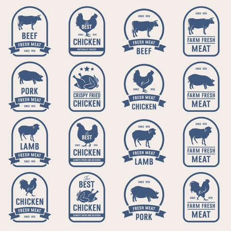 고기 라벨, 신선한 고기 스탬프의 큰 집합입니다. 정육점과 농업 시장을위한 아이디어 일러스트