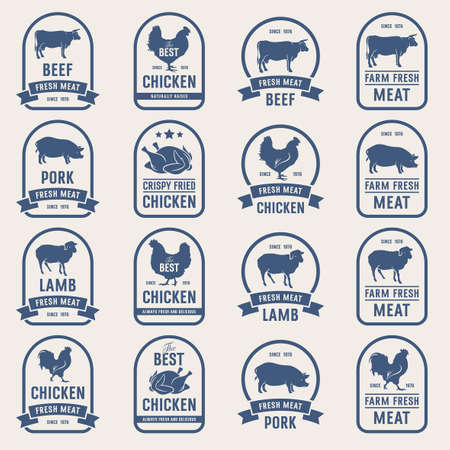 whole chicken: Big set of meat labels, fresh meat stamps. Ideas for butcher shop and Farm Market