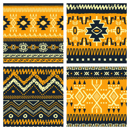 fabric patterns: Set of trendy seamless backgrounds.  Abstract tribal ethnic patterns. Use for fabric design, pattern fills, web page background Illustration