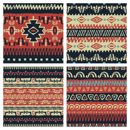 hand prints: Set of trendy seamless backgrounds.  Abstract tribal ethnic patterns. Use for fabric design, pattern fills, web page background Illustration