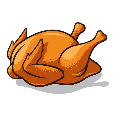 pollos asados: ilustración de un pollo frito aislado en blanco. Todo el pollo asado