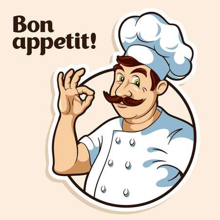 hombre con sombrero: Ilustración de un cocinero