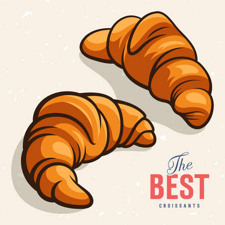 croissants: illustration of delicious baked croissants. The inscription The best croissants