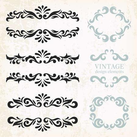 Vintage éléments de conception et la page de décoration, série de décorations ornées dans le style rétro Banque d'images - 48552068