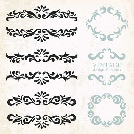 classic classical: Vintage design elements and page decoration, set of ornate patterns in retro style Illustration