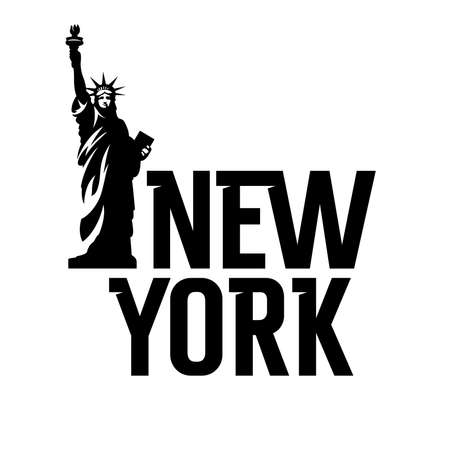 "Lettering ""New York"" and Statue of Liberty. T shirt apparel fashion design"