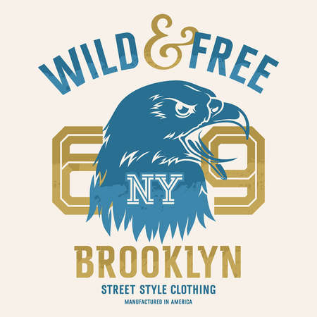 Lettering Wild and Free and American eagle head. This illustration can be used as a print on T-shirts and other clothes Illustration