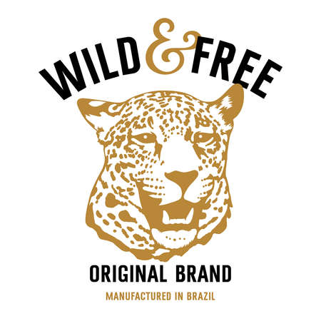 leopard head: Leopard head and lettering Wild and Free. This illustration can be used as a print on T-shirts and other clothes