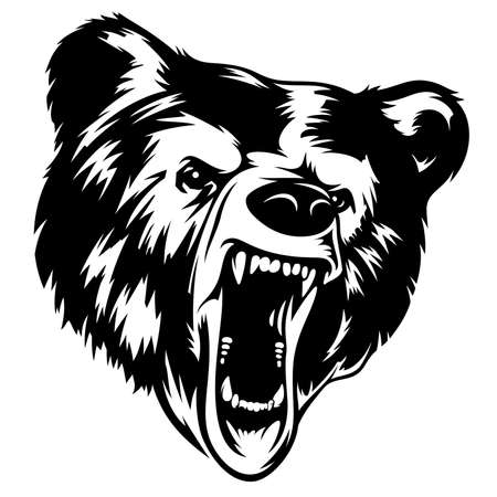 angry bear: Grizzly Bear head black-white vector illustration. It can be used as a print on T-shirts and other clothes