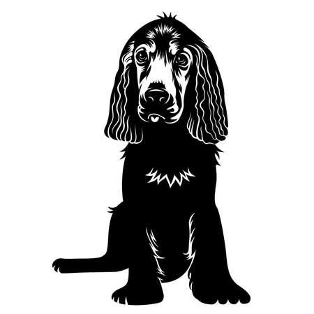 벡터 손 귀여운 강아지의 실루엣을 그려. T 셔츠 프린트 그래픽 일러스트