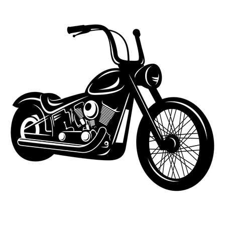 Vector illustration of a motorcycle isolated on white. Classic American chopper Stock Illustratie