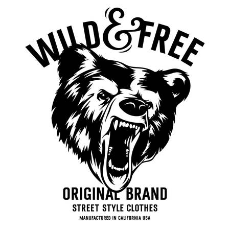 alphabet silhouette: Wild and Free vintage typography with a  head of a grizzly Bear, t-shirt print graphics