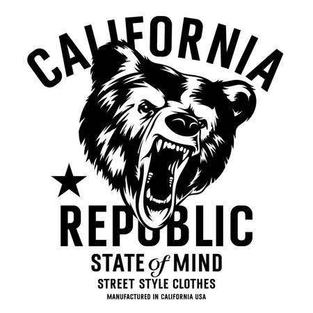 oso: tipografía república de California de la vendimia con una cabeza de un oso pardo, gráficos de la camiseta de impresión Vectores