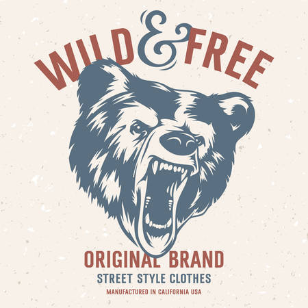 t shirt print: Wild and Free vintage typography with a  head of a grizzly Bear, t-shirt print graphics. Grunge background on separate layer