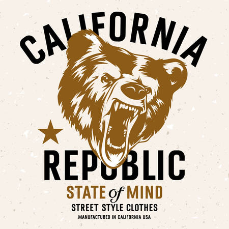 republic: California Republic vintage typography with a  head of a grizzly Bear, t-shirt print graphics. Grunge background on separate layer