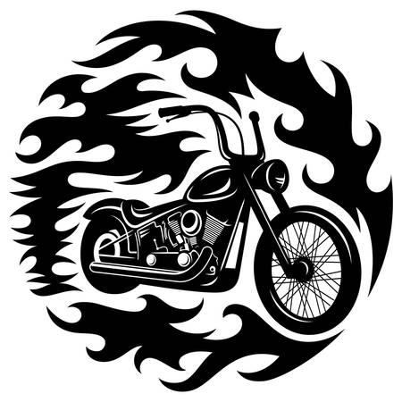 spurt: Classic chopper motorcycle with spurts of flame. T-shirt print graphics Illustration