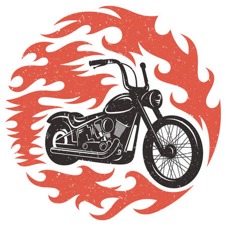 hands silhouette: Classic chopper motorcycle with fire flame. T-shirt print graphics. Grunge texture on a separate layer Illustration