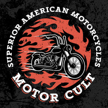 cult: Classic chopper motorcycle with fire flame. T-shirt print graphics. Superior american motorcycles. Motor cult. Grunge texture on a separate layer