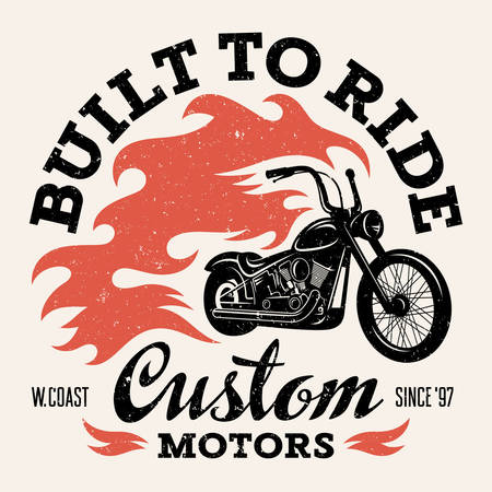 t shirt white: Classic chopper motorcycle with fire flame. T-shirt print graphics. Grunge texture on a separate layer Illustration