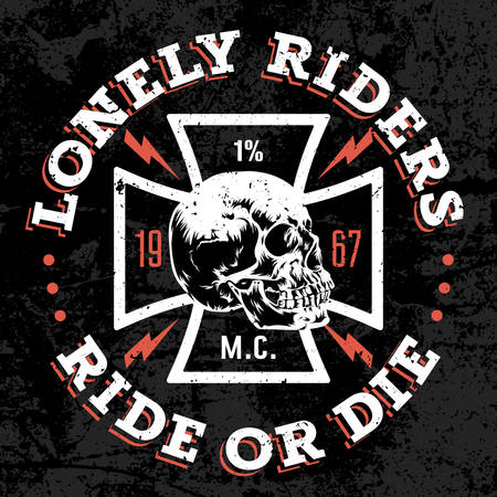 cross vector: Vector hand drawn illustration with Maltese cross and a skull. Lonely Riders. Ride or Die. Motorcycle club T shirt graphics concept. Grunge texture on separate layer
