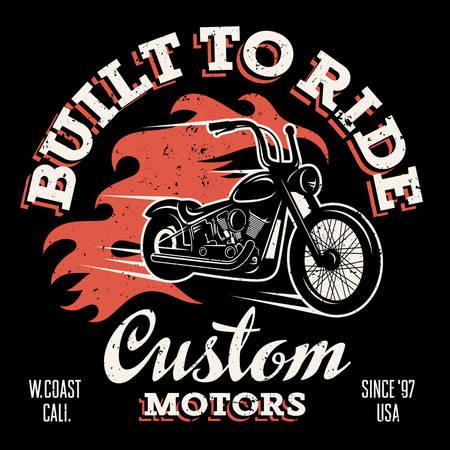 Classique moto chopper avec feu flamme. T-shirt graphiques d'impression. Construit à monter. moteurs personnalisés. Grunge texture sur une couche séparée Vecteurs