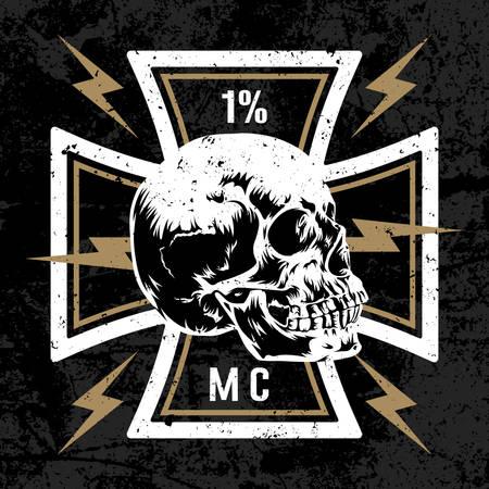 vector dibujado a mano ilustración con cruz de Malta con un cráneo. símbolo del motorista. club de la motocicleta T camisa concepto de gráficos. textura del grunge en la capa separada