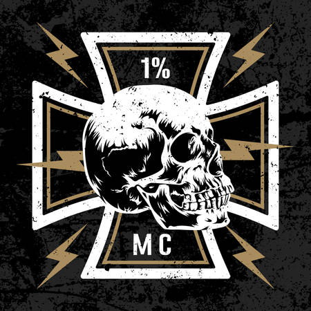 Vector hand drawn illustration with Maltese cross with a skull. Biker symbol. Motorcycle club T shirt graphics concept. Grunge texture on separate layer Иллюстрация