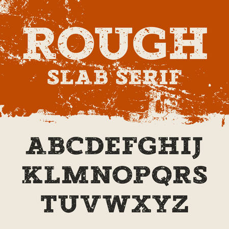 slab: Grunge font. Retro alphabet in western style. Slab Serif uppercase letters. Textured rough vector font for labels and posters