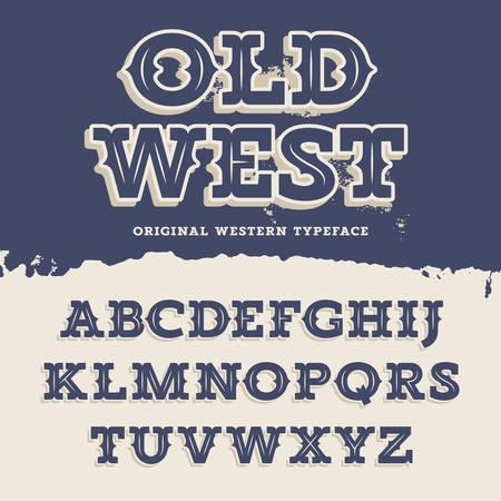 La tipografía del viejo Oeste. alfabeto retro de estilo occidental. Slab Serif tipo letras sobre un fondo grunge. fuente vectorial de la vendimia para las etiquetas y carteles