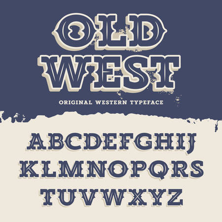 old west: Old West typeface. Retro alphabet in western style. Slab Serif type letters on a grunge background. Vintage vector font for labels and posters Illustration