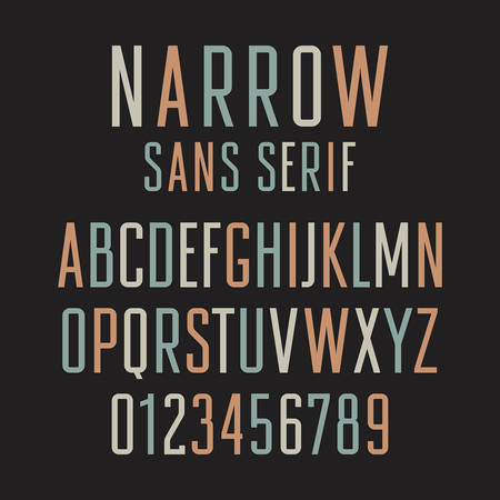 sans serif: Narrow sans serif font. Handmade condensed letters and numbers