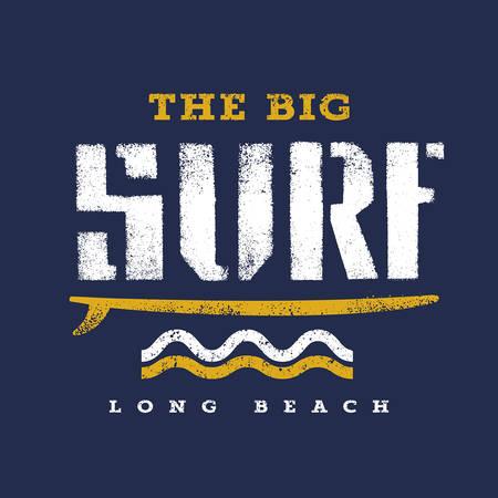 Surfing artwork. The Big Surf Long Beach. T shirt graphics