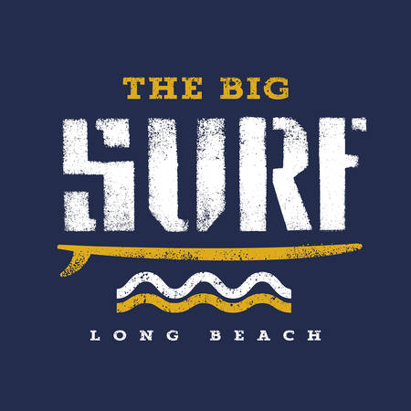surfer: Surfing artwork. The Big Surf Long Beach. T shirt graphics
