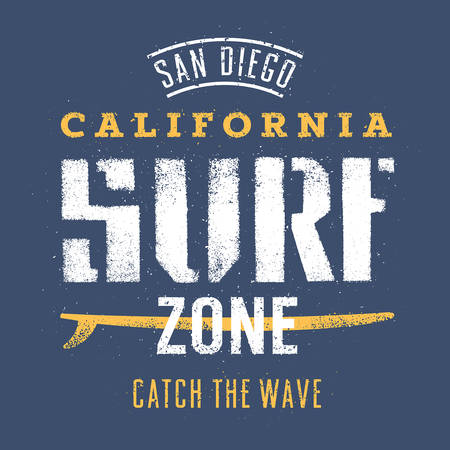 san diego: Surfing artwork. San Diego California Surf zone. Catch the wave. T shirt graphics