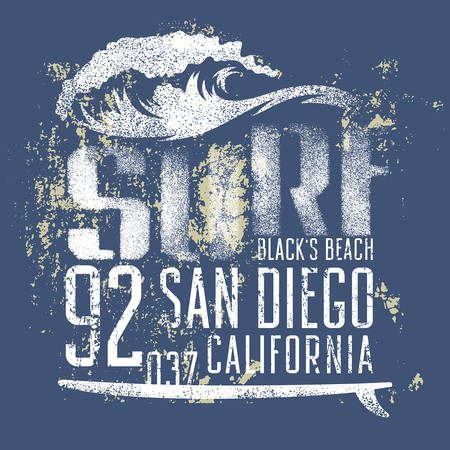 san: Surfing artwork. Blacks beach San Diego California. T-shirt apparel print graphics. Original graphic Tee