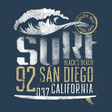grafik: Surfen Kunstwerk. Schwarz Strand San Diego Kalifornien. T-Shirt, Bekleidung, Druckgrafik. Original-Grafik-T-Stück Illustration