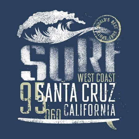Surfing artwork. Worlds best surf spots. Santa Cruz California. T-shirt apparel print graphics. Original graphics Tee