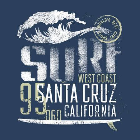 surfing wave: Surfing artwork. Worlds best surf spots. Santa Cruz California. T-shirt apparel print graphics. Original graphics Tee