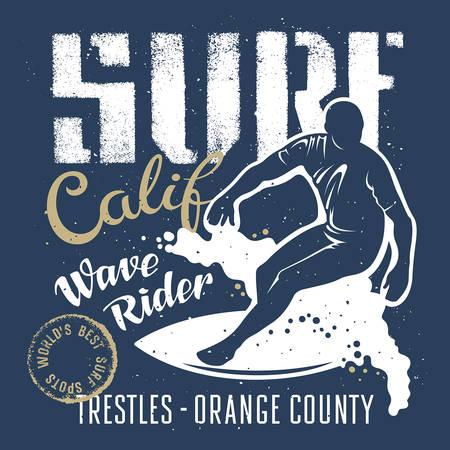 coast: Surfing artwork. Wave rider. Surf California. T-shirt apparel print graphics. Original graphics Tee Illustration