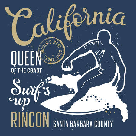 t background: Surfing artwork. Surfs up. Rincon California. T-shirt apparel print graphics. Original graphics Tee