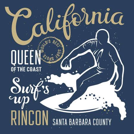 t shirt print: Surfing artwork. Surfs up. Rincon California. T-shirt apparel print graphics. Original graphics Tee