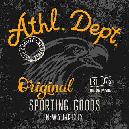 athletic: Eagle T-shirt graphics  Athletic Dept Vintage Typography  Original graphic Tee  Grunge texture
