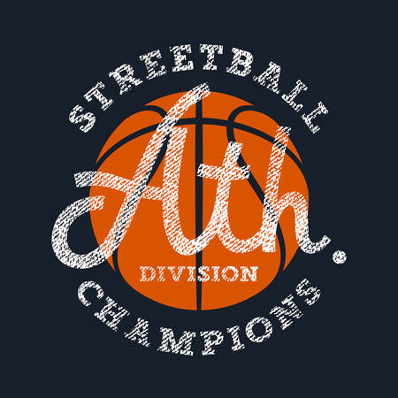 fashion clothes: Athletic T-shirt graphics  Sport Vintage Typography  Original graphic Tee  Textured lettering  Basketball Streetball Team Emblem