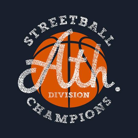 moda ropa: Atlético gráficos de la camiseta  deporte de la vendimia de la tipografía  Original camiseta gráfica  letras textura  baloncesto de Streetball emblema del equipo