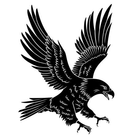 대머리 독수리 실루엣 화이트에 격리입니다. 이 그림은 T 셔츠, 문신 요소 또는 다른 용도의 인쇄로 사용할 수 있습니다 일러스트