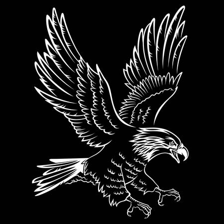 halcón: Silueta del águila calva aislada en negro. Esta ilustración vectorial se puede utilizar como una impresión en camisetas, tatuaje elemento u otros usos