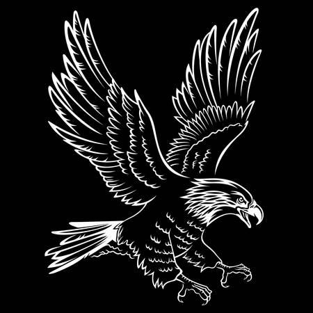 Siluetta dell'aquila calva isolata sul nero. Questa illustrazione vettoriale può essere utilizzata come una stampa su magliette, elemento tatuaggio o altri usi Vettoriali